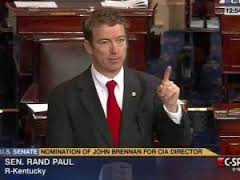 Senator Rand Paul filibusters from the Senate floor in March of 2013.